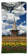 The Dezwaan Dutch Windmill Among The Tulips On Windmill Island In Holland Michigan Beach Towel