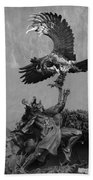 The Eagle And The Indian In Black And White Beach Towel