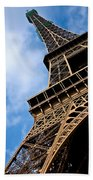 The Eiffel Tower From Below Beach Towel by Nila Newsom