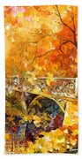 The Embassay Of Autumn - Palette Knife Oil Painting On Canvas By Leonid Afremov Beach Towel