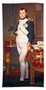 The Emperor Napoleon In His Study At The Tuileries By Jacques Louis David Beach Towel