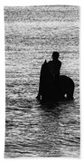The Equestrians-silhouette Beach Towel