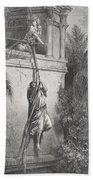 The Escape Of David Through The Window Beach Towel by Gustave Dore