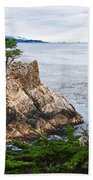 The Famous Lone Cypress Tree At Pebble Beach In Monterey California Beach Towel