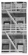 The Fire Escape In Black And White Beach Towel