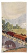 The First Paris To Rouen Railway, Copy Beach Towel by French School