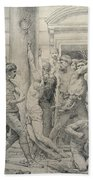 The Flagellation Of Christ Beach Towel by William Adolphe Bouguereau