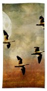 The Flight Of The Snow Geese Beach Towel by Lois Bryan