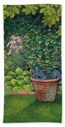 The Flower Pot Cat Beach Towel by Ditz