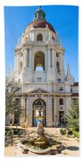 The Fountain - The Beautiful Pasadena City Hall. Beach Towel