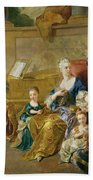 The Franqueville Family, 1711 Oil On Canvas Beach Towel