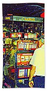 The Gambler Meets The One Armed Bandit In Casino Royale Standoff At High Noon Urban Casino Art Scene Beach Towel
