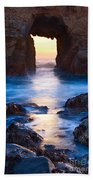The Gateway - Sunset On Arch Rock In Pfeiffer Beach Big Sur In California. Beach Towel by Jamie Pham