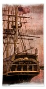 The Gleaming Hull Of The Hms Bounty Beach Towel