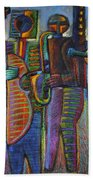 The Gods Of Music Come To New York Beach Towel