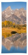The Grand Tetons At Schwabacher Landing Grand Teton National Park Beach Towel