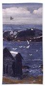 The Gulls Of Monhegan Beach Towel
