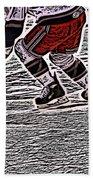 The Hockey Player Beach Towel by Karol Livote
