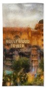 The Hollywood Tower Hotel Disneyland Photo Art 02 Beach Towel