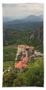 The Holy Monastery Of Rousanou Meteora Greece  Beach Towel