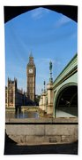 The Houses Of Parliament In London Beach Towel