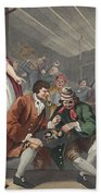 The Idle Prentice Betrayed Beach Towel by William Hogarth
