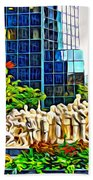 The Illuminated Crowd Of Montreal Beach Towel