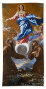 The Immaculate Conception With Saints Francis Of Assisi And Anthony Of Padua Beach Towel