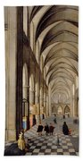 The Interior Of A Gothic Church Beach Towel by Hendrik the Younger Steenwyck
