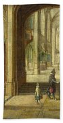 The Interior Of A Gothic Church Looking East Beach Towel