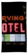 The Irving Hotel Vintage Sign Beach Towel