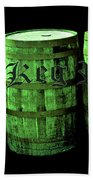 The Keg Room 3 Green Barrels Old English Hunter Green Beach Towel
