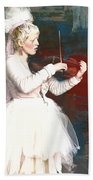 The Lady With The Violin Beach Towel