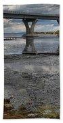 The Lake Champlain Bridge From Cown Point Beach Towel