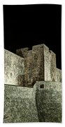 The Landside Walls Of Dubrovnik At Night No1 Beach Towel