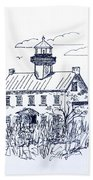 The Lines Of East Point Lighthouse In Blue 2 Beach Towel