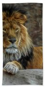 The Lion Digital Art Beach Towel