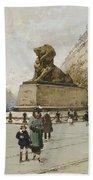 The Lion Of Belfort Le Lion De Belfort Beach Towel by Eugene Galien-Laloue