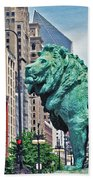 The Lions Of Chicago Beach Towel
