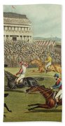 The Liverpool Grand National Steeplechase Coming In Beach Towel by Charles Hunt and Son