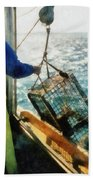 The Lobsterman Beach Towel by Michelle Calkins