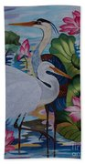 The Lotus Pond Hand Embroidery Beach Towel