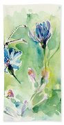 The Love Between Butterfly And Chicory Beach Towel