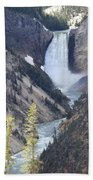 The Lower Falls Of Yellowstone River Beach Towel