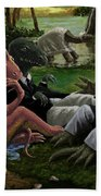 The Luncheon On The Grass With Dinosaurs Beach Towel