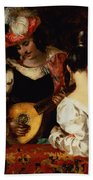 The Lute Player Beach Towel