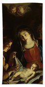 The Madonna Adoring The Infant Christ Beach Towel