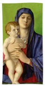 The Madonna Of The Trees Beach Towel by Giovanni Bellini