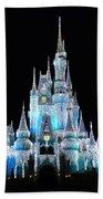 The Magic Kingdom Castle In Frosty Light Blue Walt Disney World Beach Towel