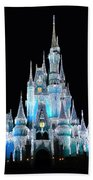The Magic Kingdom Castle In Frosty Light Blue Walt Disney World Beach Towel